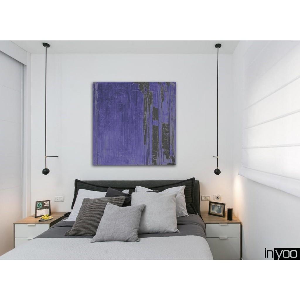 Ocean-blue הדפס של ציור בגווני כחול עמוק עם נגיעות שחור ואפור כהה של היוצרת שרון גולן