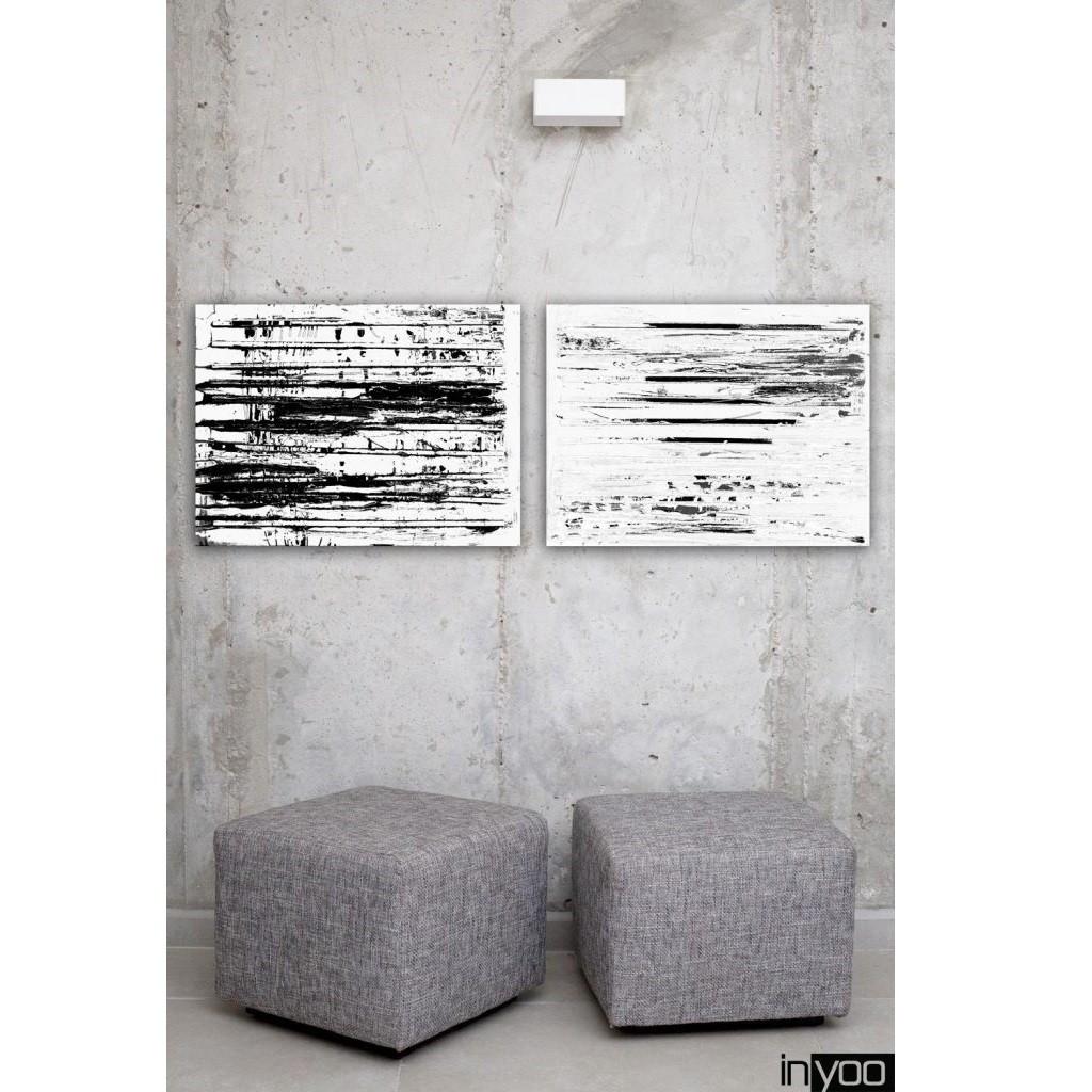 salt הדפס של ציור לבן טקסטורלי בעיקרו עם נגיעות של שחור