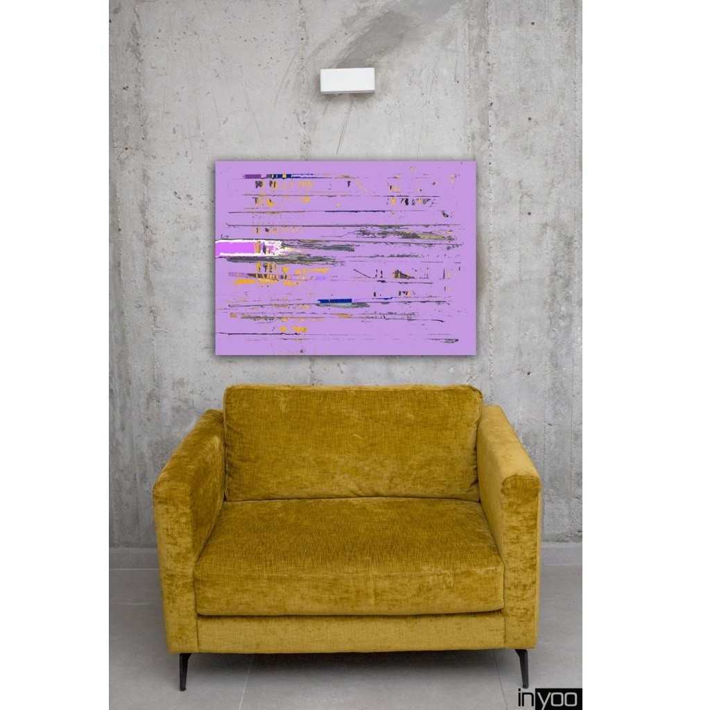 הדפס קנבס של היוצרת שרון גולן. גווני סגלגל עם נגיעות של כחול לבן צהוב ושחור