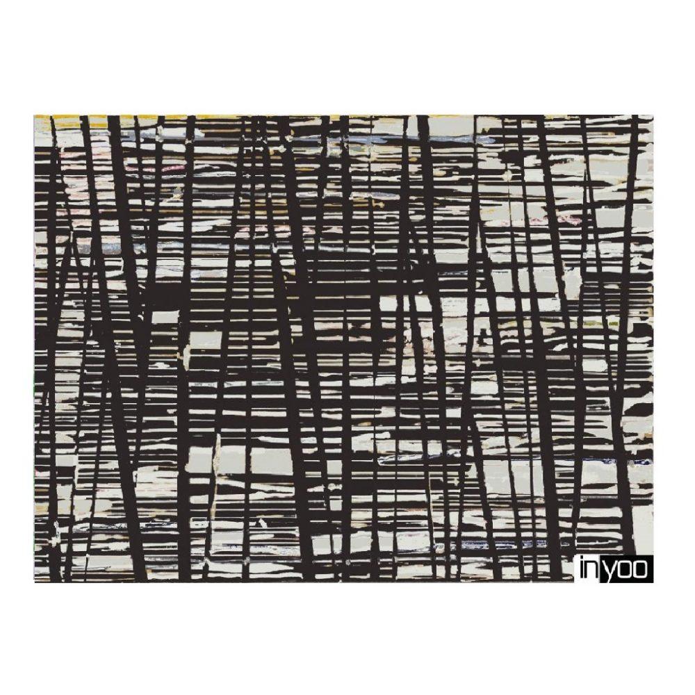 הדפס של ציור שחור לבן גאומטרי מתוך קולקציית הדפסי הקנבס של מעצבת הפנים שרון גולן