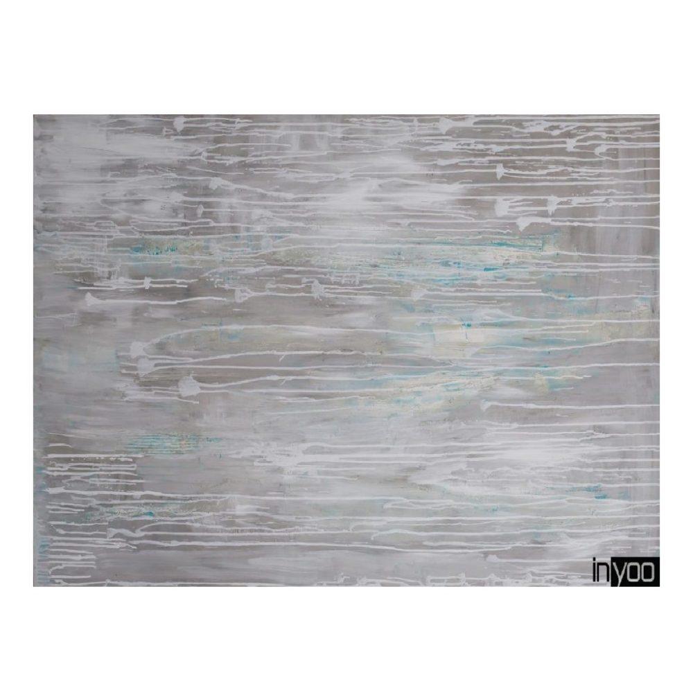 I-have-an-idea הדפס קנבס מתוך ציורים של שרון גולן, אבסטרקט של אפור מוקה לבן ומעט טורקיז