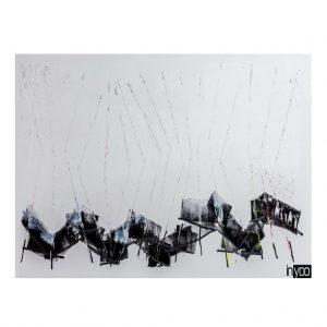 ציור אבסטרקטי לבן עם טקסטורה לבנה כולל נגיעות בשחור .מזכיר מקלות של קוסם. הדפס קנבס איכותי של המעצבת שרון גולן .